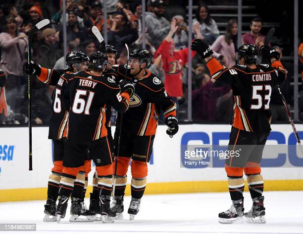 Ryan Getzlaf of the Anaheim Ducks celebrates his overtime goal for a 2-1 win over the Vancouver Canucks at Honda Center on November 01, 2019 in...