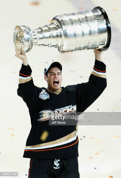 Ryan Getzlaf of the Anaheim Ducks celebrates lifting the Stanley Cup after defeating the Ottawa Senators in Game Five of the 2007 Stanley Cup finals...