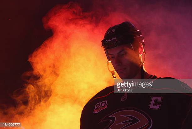 Ryan Getzlaf of the Anaheim Ducks is introduced prior to the start of the game against the New York Rangers at Honda Center on October 10, 2013 in...