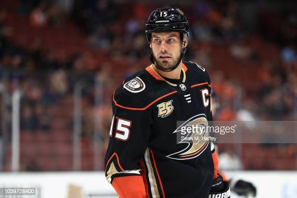 Ryan Getzlaf of the Anaheim Ducks looks on during the first period of an NHL preseason game against the Arizona Coyotes at Honda Center on September...