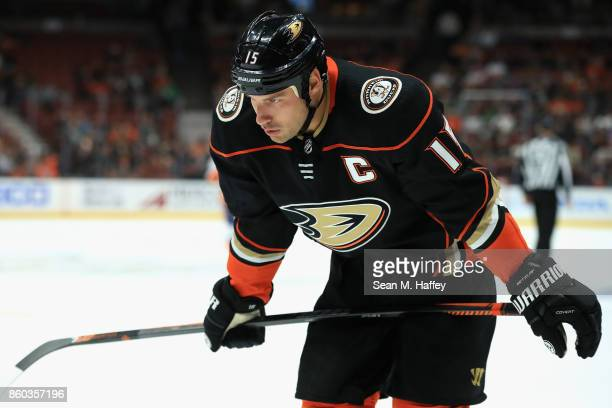 Ryan Getzlaf of the Anaheim Ducks looks on during the second period of a game against the New York Islanders at Honda Center on October 11 2017 in...
