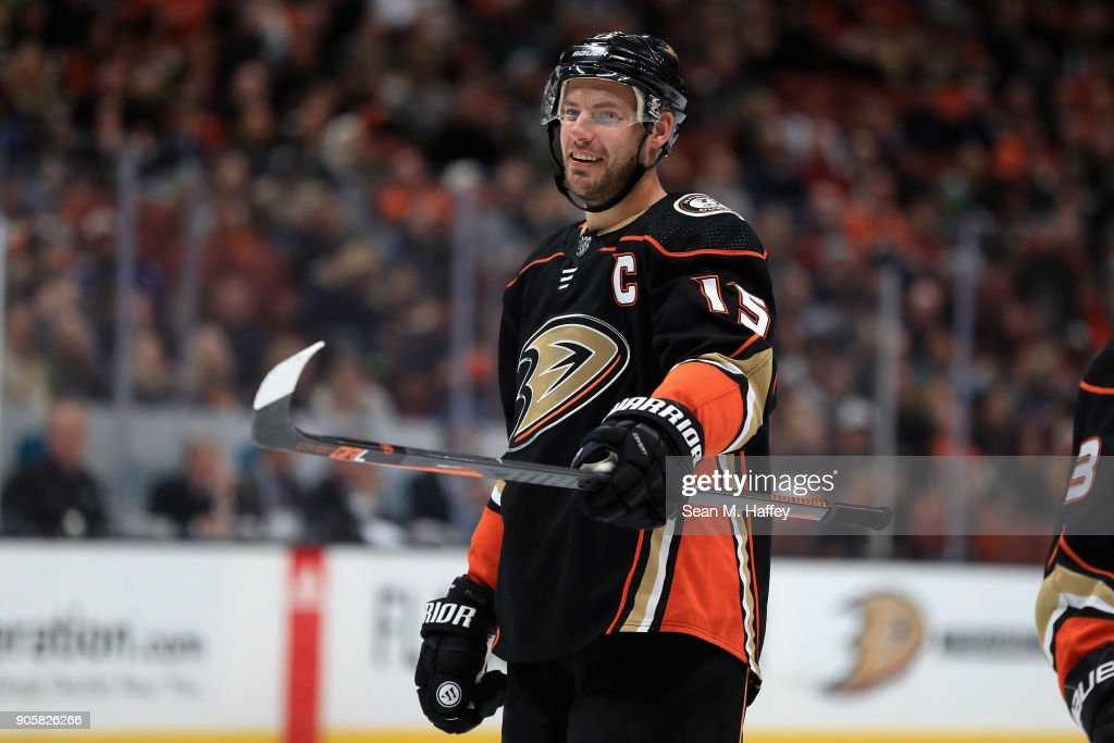 Ryan Getzlaf #15 of the Anaheim Ducks looks on during the third period of a game against the Calgary Flames at Honda Center on December 29, 2017 in Anaheim, California.
