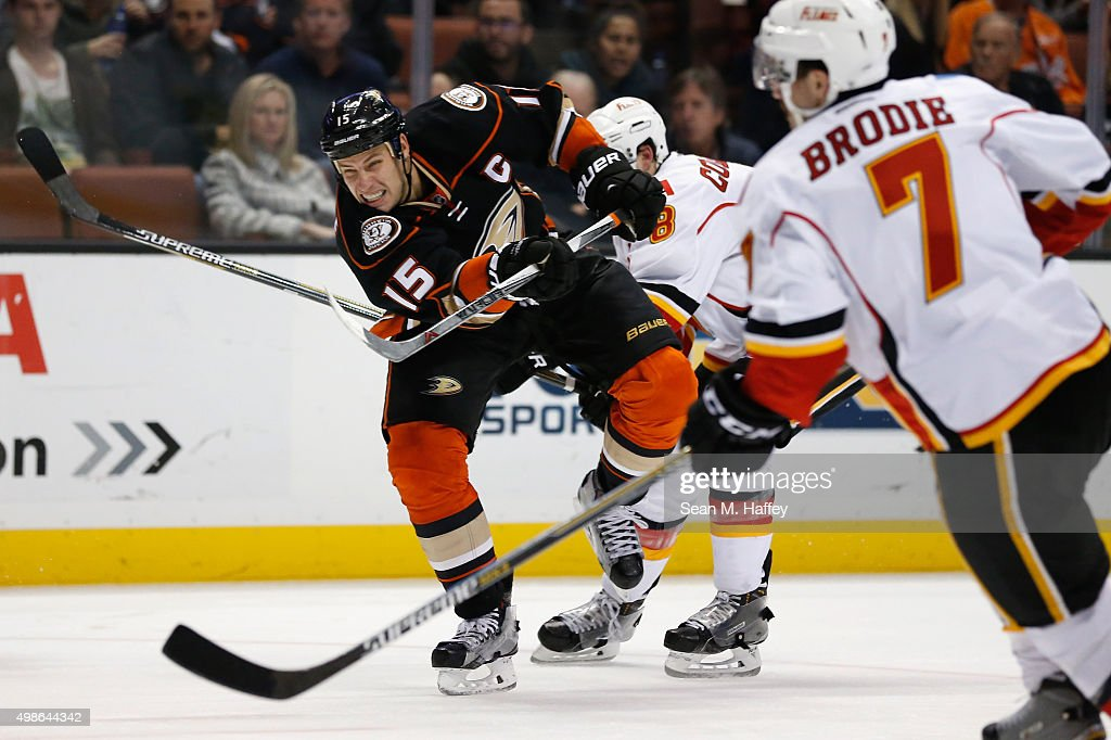 Ryan Getzlaf #15 of the Anaheim Ducks shoots the puck during the third period of a game at Honda Center on November 24, 2015 in Anaheim, California.