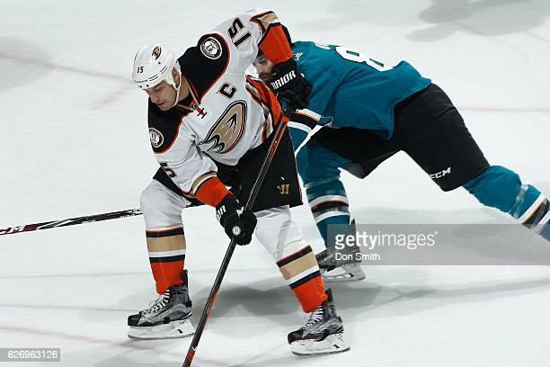 Ryan Getzlaf of the Anaheim Ducks skates against Brent Burns of the San Jose Sharks during a NHL game at SAP Center at San Jose on November 26, 2016...