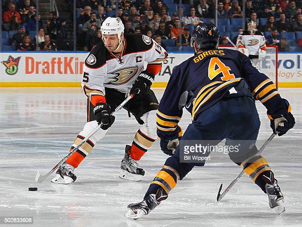 Ryan Getzlaf of the Anaheim Ducks skates against Josh Gorges of the Buffalo Sabres during an NHL game on December 17 2015 at the First Niagara Center...