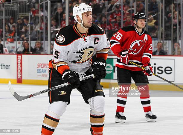 Ryan Getzlaf of the Anaheim Ducks skates during the third period against the New Jersey Devils at the Prudential Center on March 29 2015 in Newark...