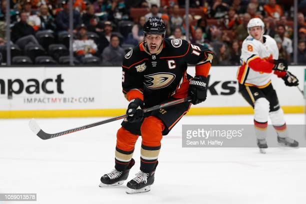 Ryan Getzlaf of the Anaheim Ducks skates to the puck during the third period of a game against the Calgary Flames at Honda Center on November 7 2018...