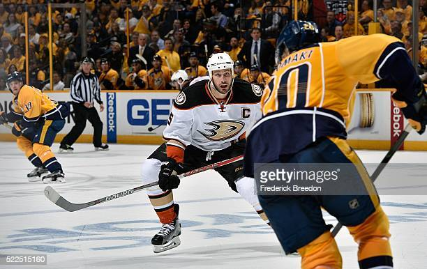 Ryan Getzlaf of the Anaheim Ducks skates toward Miikka Salomaki of the Nashville Predators during the second period in Game Three of the Western...