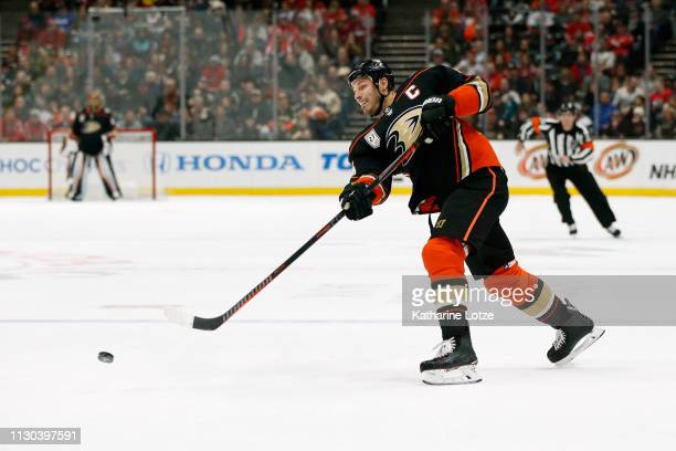 Ryan Getzlaf of the Anaheim Ducks takes a shot on goal during the first period against the Washington Capitals at Honda Center on February 17 2019 in...