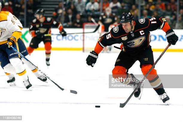 Ryan Getzlaf of the Anaheim Ducks takes the puck down the ice on a breakaway for the Anaheim Ducks first goal of the game during the first period...