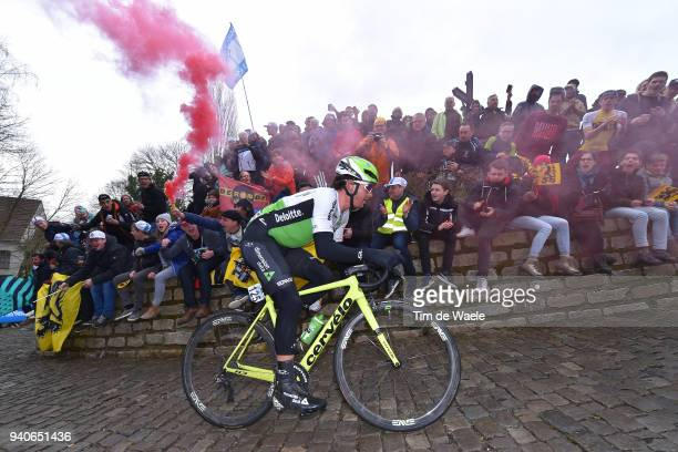 Ryan Gibbons of South Africa and Team Dimension Data / Wall of Geraardsbergen / De Muur / Fans / Public / during the 102nd Tour of Flanders 2018 -...