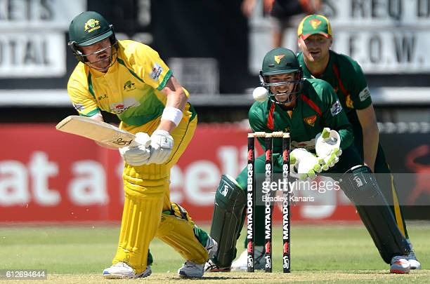 Ryan Gibson of the CA XI plays a shot during the Matador BBQs One Day Cup match between Tasmania and the Cricket Australia XI at Allan Border Field...