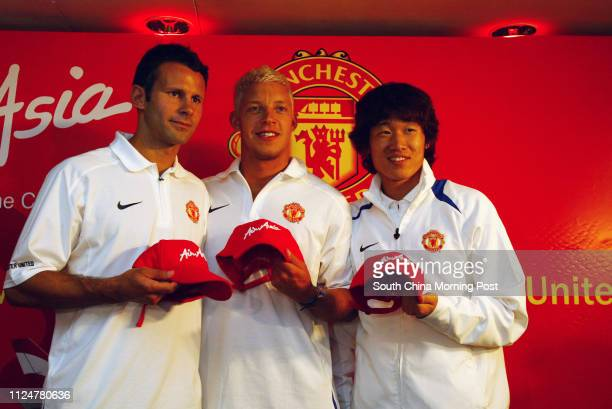 Ryan Giggs Alan Smith and Park Jisung of Manchester United attend the AirAsia Press Conference Grand Hyatt Hong Kong 22 July 2005