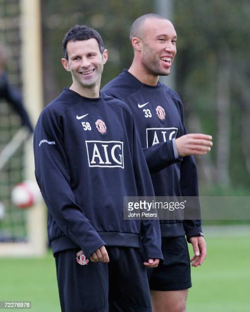 Ryan Giggs and Mikael Silvestre of Manchester United in action during a first team training session at Carrington Training Ground on October 27 2006,...