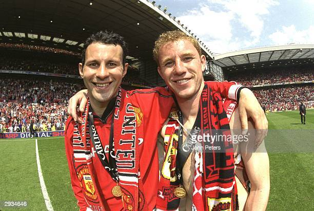Ryan Giggs and Nicky Butt celebrate winning the Premier League after the FA Premiership match between Manchester United v Tottenham Hotspur at Old...