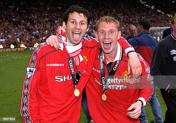 Ryan Giggs and Nicky Butt of Manchester United celebrate after the FA Carling Premiership match between Manchester United v Tottenham Hotspur at Old...