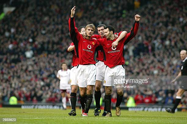 b3f35dc30b9 Ryan Giggs celebrates his second goal of the match with David Beckham Roy  Keane and Gary