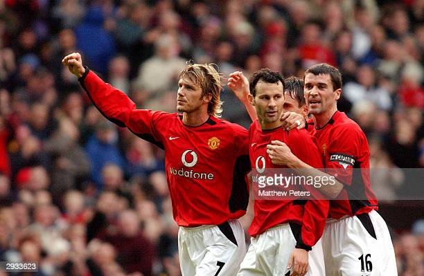 9d55b2f3ca3 Ryan Giggs celebrates his second goal of the match with David Beckham and  Roy Keane during