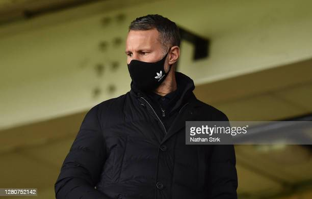 Ryan Giggs co owner of Salford City and Wales manager look on in the stands during the Sky Bet League Two match between Port Vale and Salford City at...
