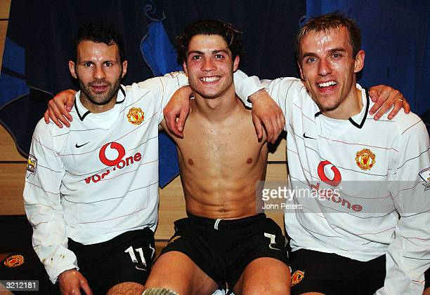 Ryan Giggs Cristiano Ronaldo and Phil Neville celebrate in the dressing room after winning the AXA FA Cup match between Manchester United and Arsenal...