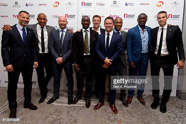 Ryan Giggs Dion Dublin Alan Shearer Jimmy Floyd Hasselbaink Matt Le Tissier Michael Owen Les Ferdinand Emile Heskey and Robin van Persie attend the...