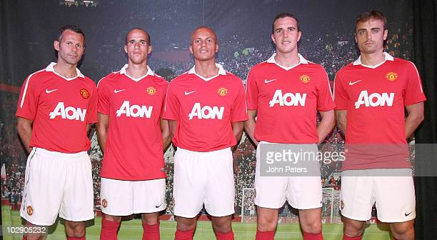 Ryan Giggs, Gabriel Obertan, Wes Brown, John O'Shea and Dimitar Berbatov of Manchester United attend the launch of the new Manchester United home...