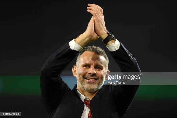 Ryan Giggs Head Coach of Wales shows his appreciation to the fans after the UEFA Euro 2020 qualifier between Wales and Hungary so at Cardiff City...