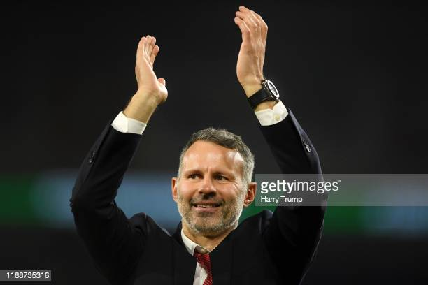 Ryan Giggs, Head Coach of Wales shows his appreciation to the fans after the UEFA Euro 2020 qualifier between Wales and Hungary so at Cardiff City...