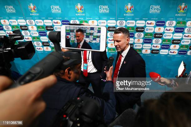 Ryan Giggs Head Coach of Wales speaks to the media following the UEFA Euro 2020 Final Draw Ceremony at the Romexpo on November 30 2019 in Bucharest...