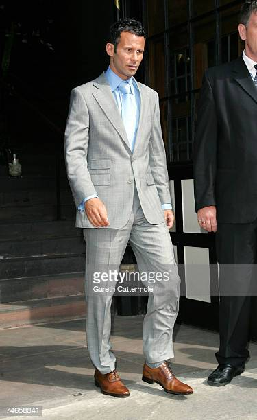 Ryan Giggs leaves Manchester Cathedral after the wedding of footballer Gary Neville and Emma Hadfield on June 16 2007 in Manchester England