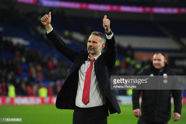 Ryan Giggs Manager of Wales celebrates at full time during the UEFA Euro 2020 Group E Qualifier match between Wales and Hungary at the Cardiff City...