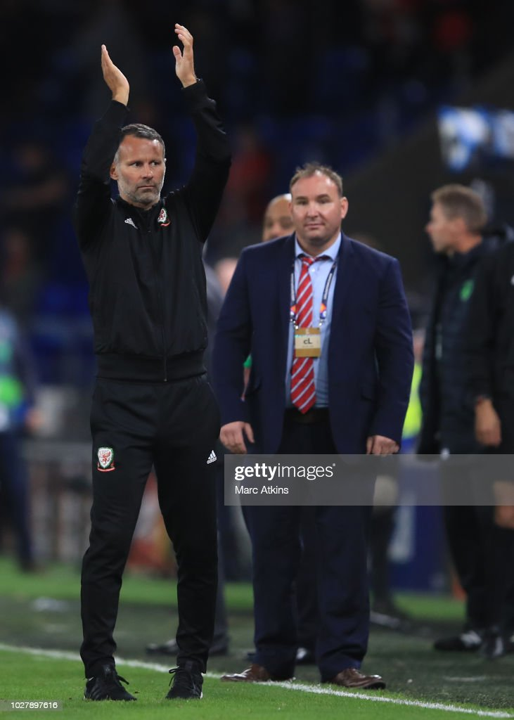 Ryan Giggs manager of Wales celebrates during the UEFA Nations League B group four match between Wales and Ireland at Cardiff City Stadium on September 6, 2018 in Cardiff, United Kingdom.