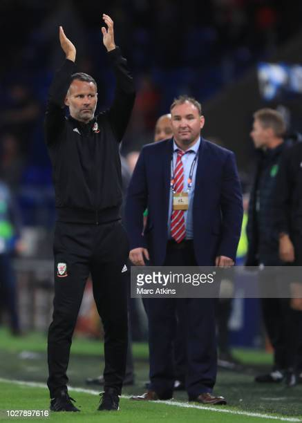 Ryan Giggs manager of Wales celebrates during the UEFA Nations League B group four match between Wales and Ireland at Cardiff City Stadium on...