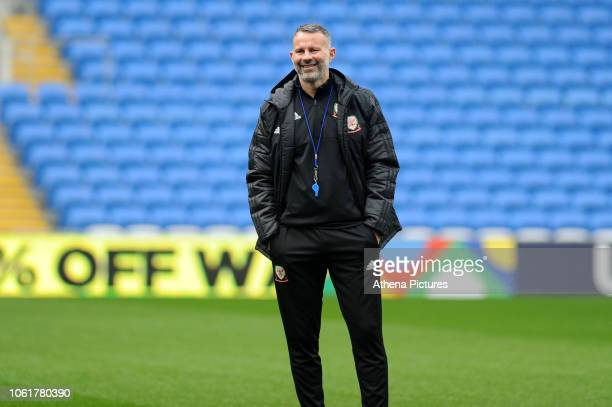 Ryan Giggs Manager of Wales in action during the Wales Training Session at the Cardiff City Stadium on November 15 2018 in Cardiff Wales