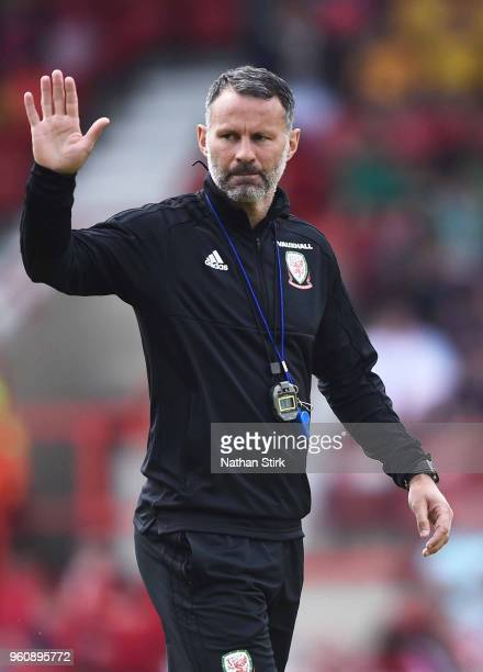 Ryan Giggs manager of Wales looks on during a training session a the Racecourse Ground on May 21 2018 in Wrexham Wales