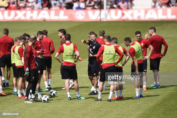 Ryan Giggs manager of Wales looks on during a training session a the Racecourse Ground on May 21, 2018 in Wrexham, Wales.