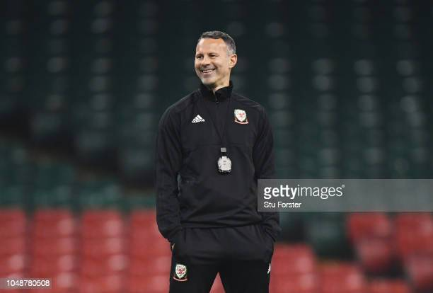 Ryan Giggs Manager of Wales looks on during a Wales Training Session at Principality Stadium on October 10 2018 in Cardiff Wales