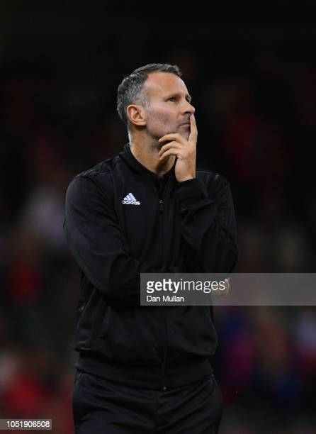 Ryan Giggs Manager of Wales looks thoughtful during the International Friendly match between Wales and Spain on October 11 2018 in Cardiff United...