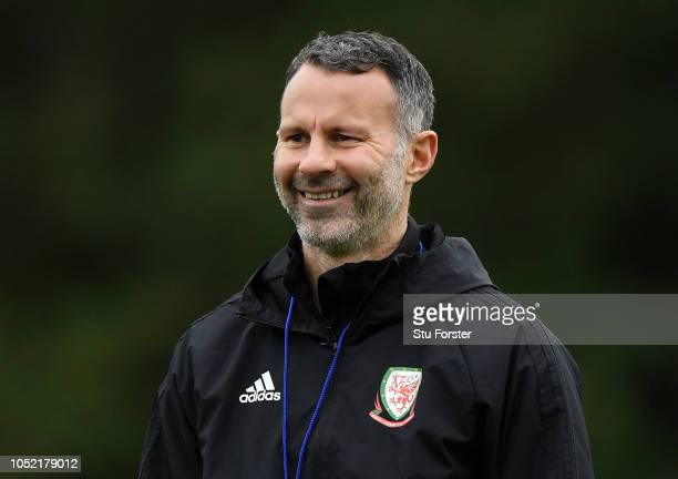 Ryan Giggs Manager of Wales smiles during a Wales training session at Vale Resort on October 15 2018 in Cardiff Wales
