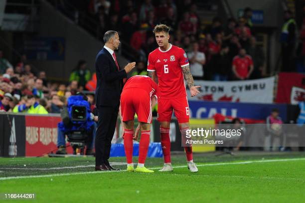 Ryan Giggs Manager of Wales speaks with Joe Rodon of Wales during the UEFA Euro 2020 Qualifier match between Wales and Azerbaijan at the Cardiff City...