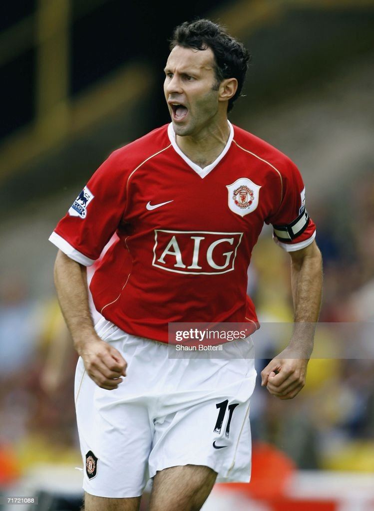 Ryan Giggs of Manchester United celebrates after scoring during the Barclays Premiership match between Watford and Manchester United at Vicarage Road on August 26, 2006 in Watford, England.