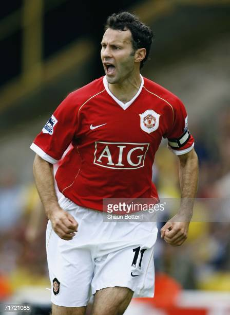 Ryan Giggs of Manchester United celebrates after scoring during the Barclays Premiership match between Watford and Manchester United at Vicarage Road...
