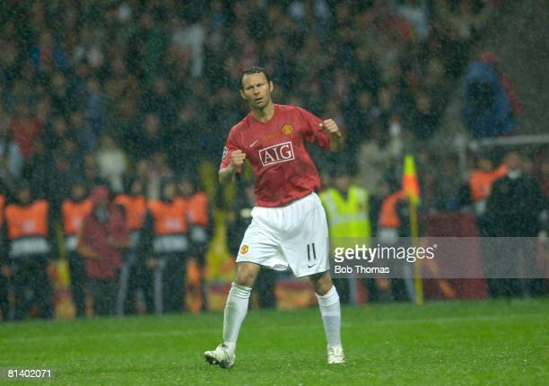 Ryan Giggs of Manchester United celebrates after scoring from his penalty during the UEFA Champions League Final between Manchester United and...
