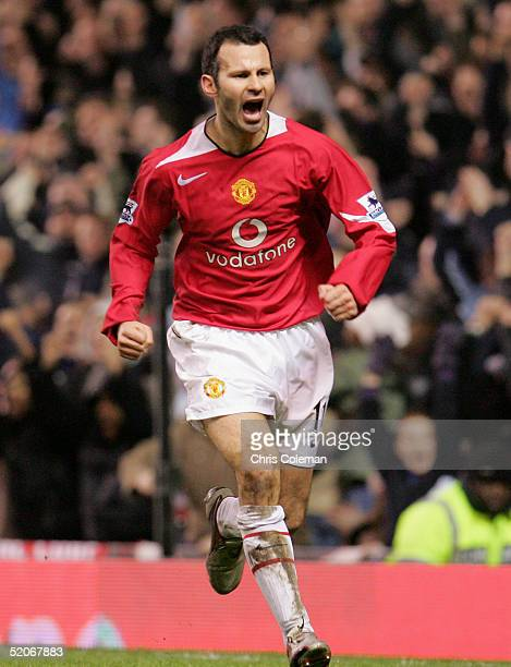 Ryan Giggs of Manchester United celebrates scoring the second goal during the Carling Cup semifinal second leg between Manchester United and Chelsea...