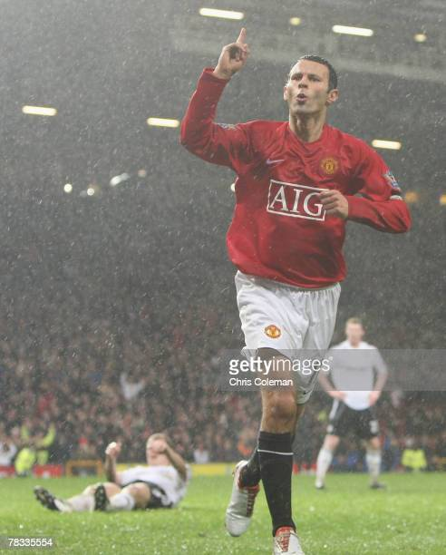 Ryan Giggs of Manchester United celebrates scoring their first goal the Barclays FA Premier League match between Manchester United and Derby County...