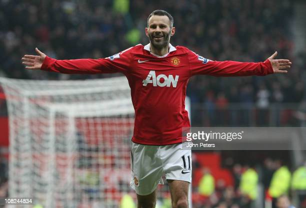 Ryan Giggs of Manchester United celebrates scoring their third goal during the Barclays Premier League match between Manchester United and Birmingham...