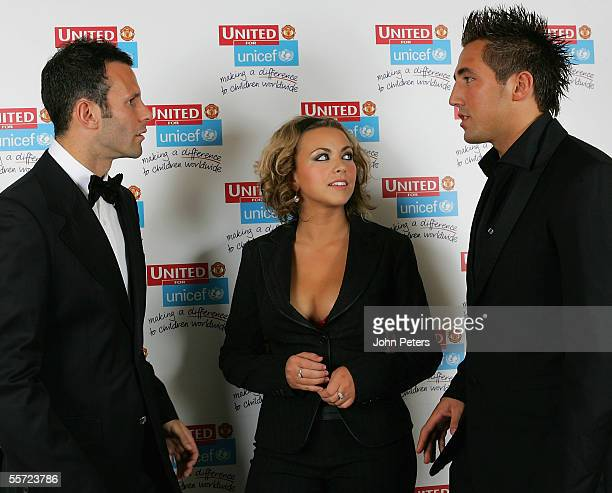 Ryan Giggs of Manchester United chats with singer Charlotte Church and her boyfriend Wales and British Lions rugby star Gavin Henson at the annual...