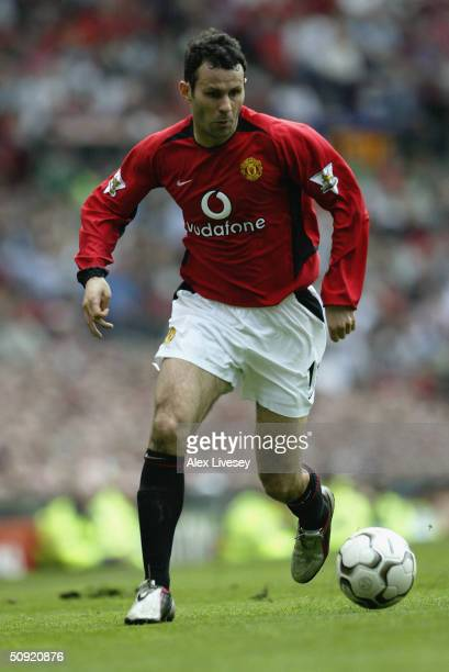 Ryan Giggs of Manchester United during the FA Barclaycard Premiership match between Manchester United and Liverpool at Old Trafford on April 24 2004...