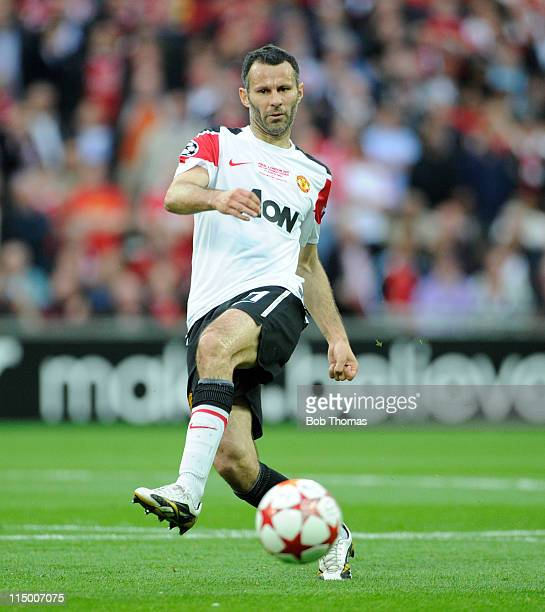 Ryan Giggs of Manchester United during the UEFA Champions League final between FC Barcelona and Manchester United FC at Wembley Stadium on May 28...
