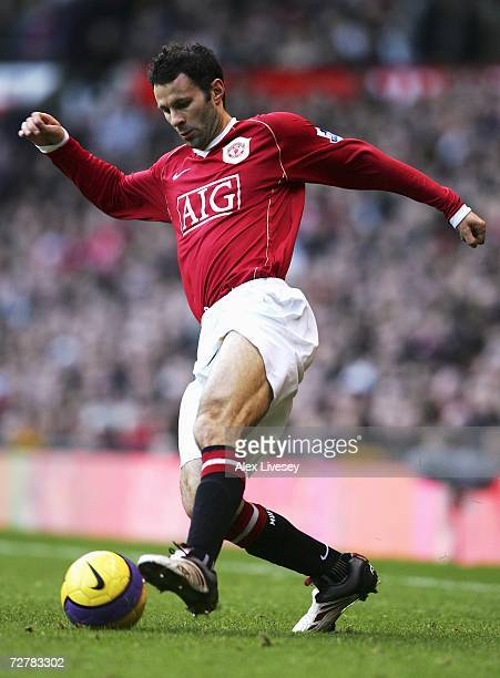 Ryan Giggs of Manchester United in action during the Barclays Premiership match between Manchester United and Manchester City at Old Trafford on...
